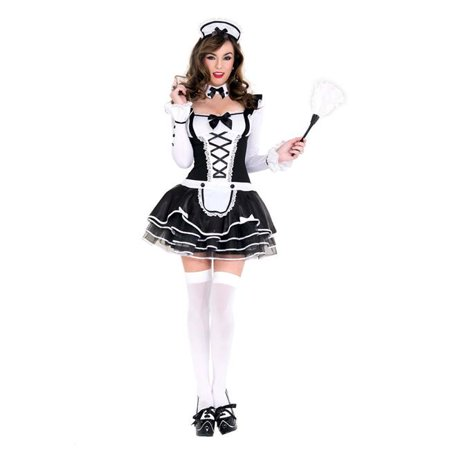 4 Piece Long Sleeve Outfit with Lace Up & Attached Fancy Skirt with Headpiece, Choker & Feather Duster, Small