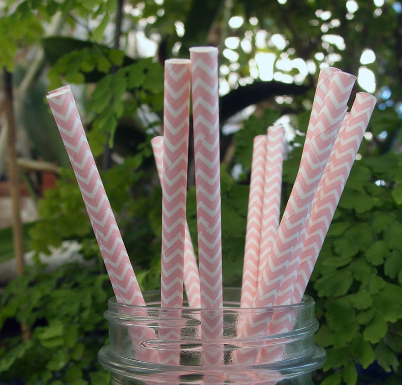 Quasimoon Pink Chevron Patterned Party Paper Straws (12 Pack) by PaperLanternStore