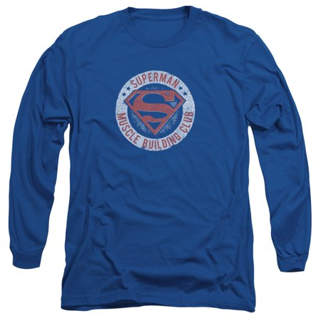 Superman DC Comics Muscle Club Adult Long Sleeve T-Shirt Tee - Muscle Man