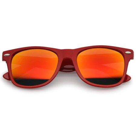 Retro Large Square Colored Mirror Lens Horn Rimmed Sunglasses 55mm (Red / Red-Orange (Red Rimmed Sunglasses)