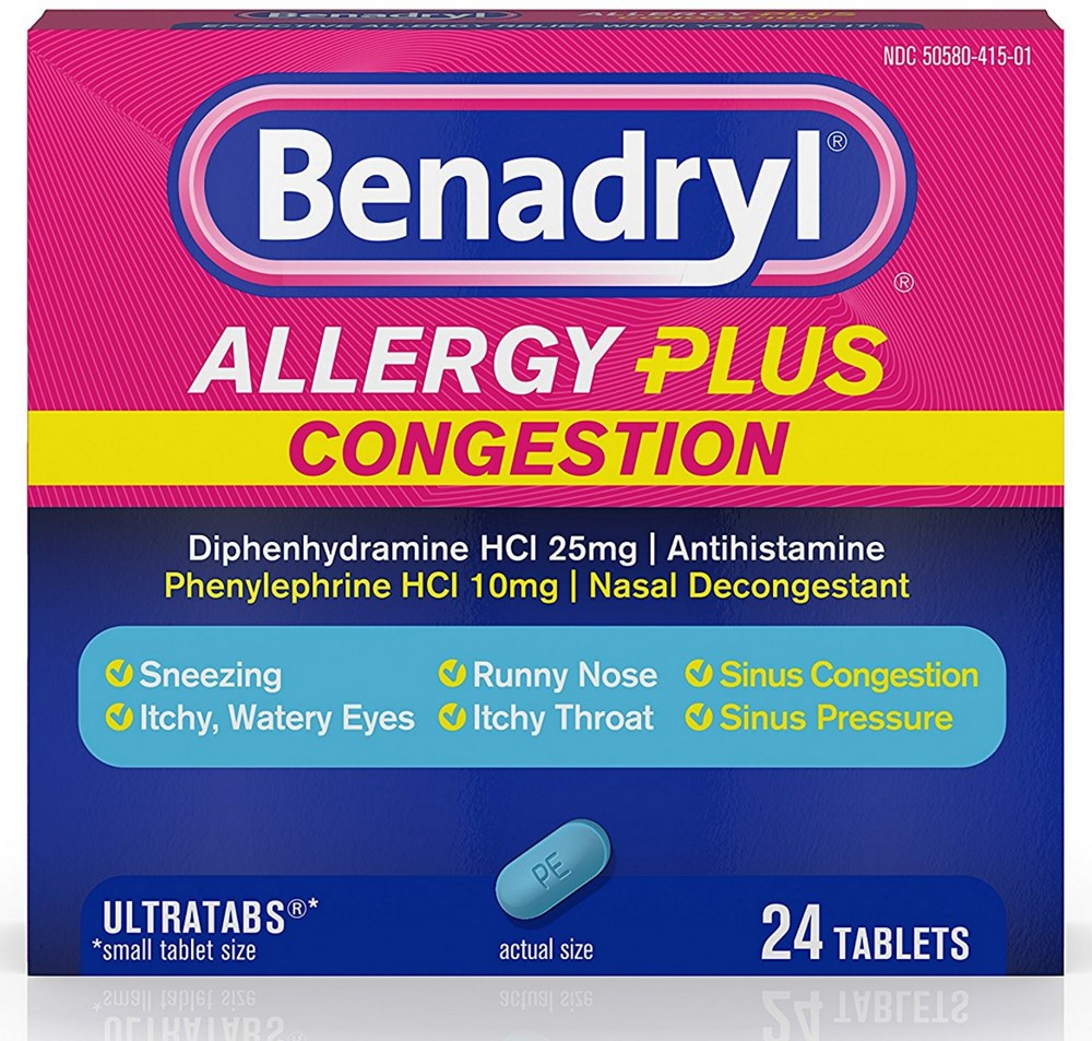 2 Pack - Benadryl Allergy Plus Congestion Ultra Tablets 24 ea