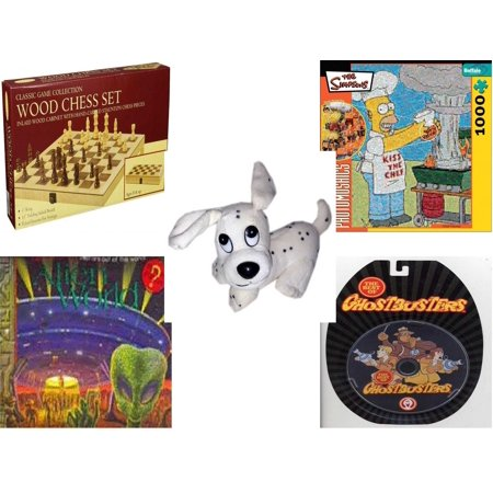 Children's Gift Bundle [5 Piece] -  Classic Wood Folding Chess Set  - Robert Silvers Photomosaics Homer Simpson  - Rhode Island Novelty Dalamation Dog  5