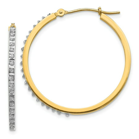 Solid 14k Yellow Gold Diamond Fascination Round Hinged Hoop Earrings (2mm x 27mm)