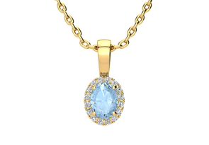 1 2 Carat Oval Shape Aquamarine and Halo Diamond Necklace In 14 Karat Yellow Gold With 18 Inch Chain by Overstock