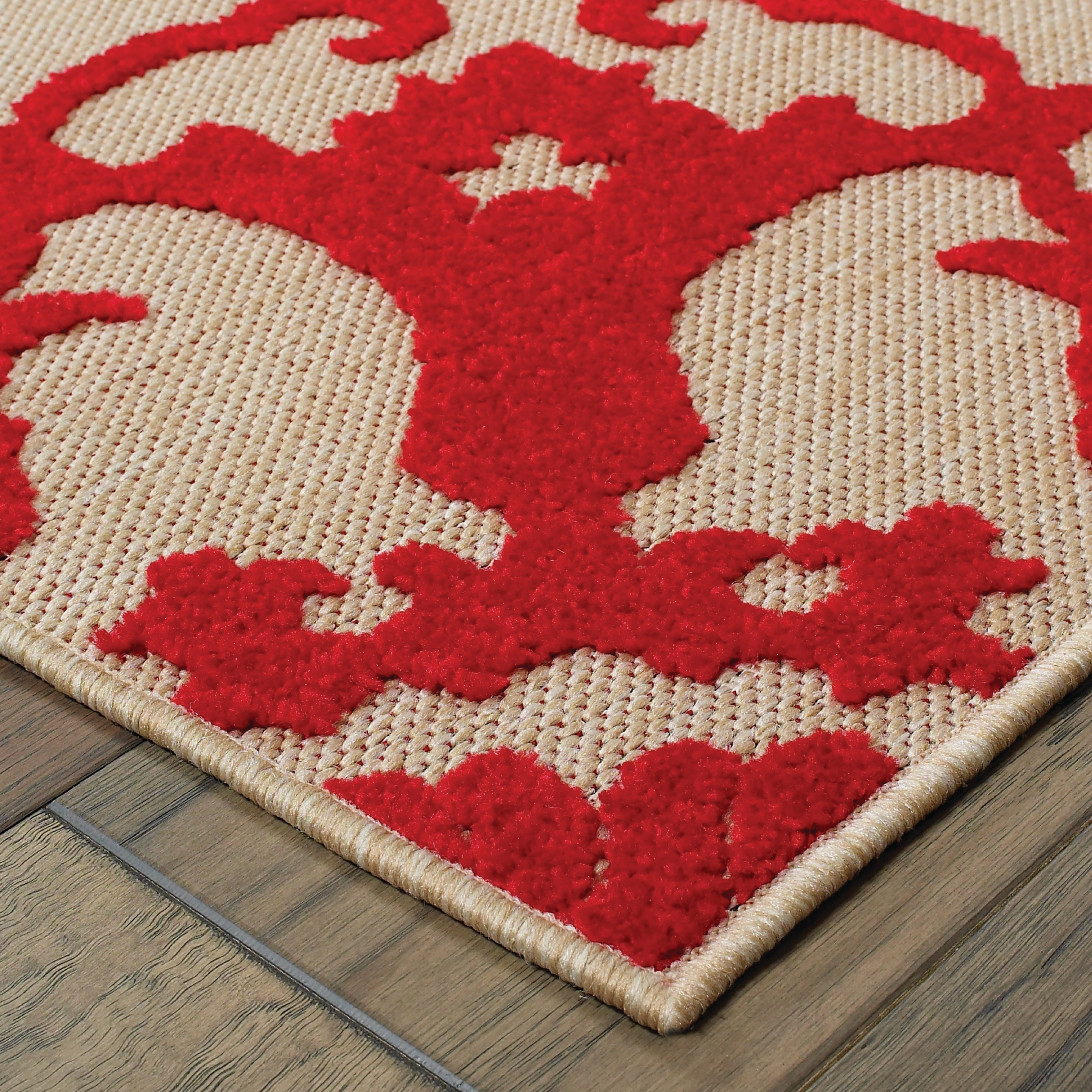 Style Haven Mixed Pile Floral Medallion Sand Red Indoor Outdoor Rug 2 3 X 7 6 Runner