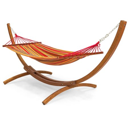 Best Choice Products Outdoor Curved Arc Wooden Hammock Stand with Cotton Hammock for Garden, Patio, Porch, and Lawn,