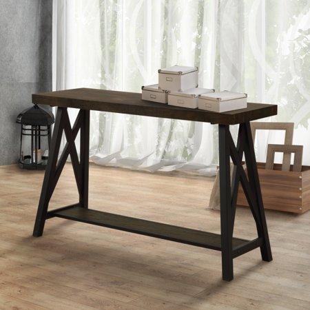 Furniture Of America  Reynolds Two Tone Medium Weathered Oak  Black Sofa Table