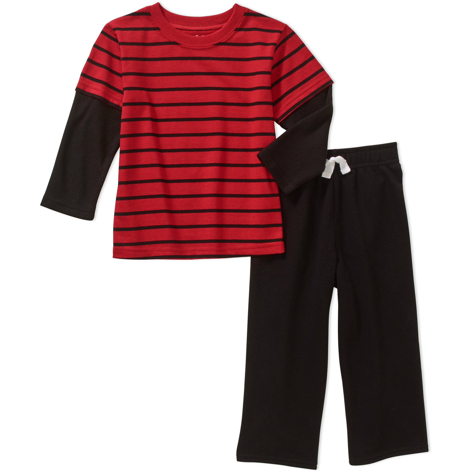 Garanimals Baby Toddler Boys' Long Sleeve Stripe Shirt and French Terry Pants 2-Piece Outfit Set