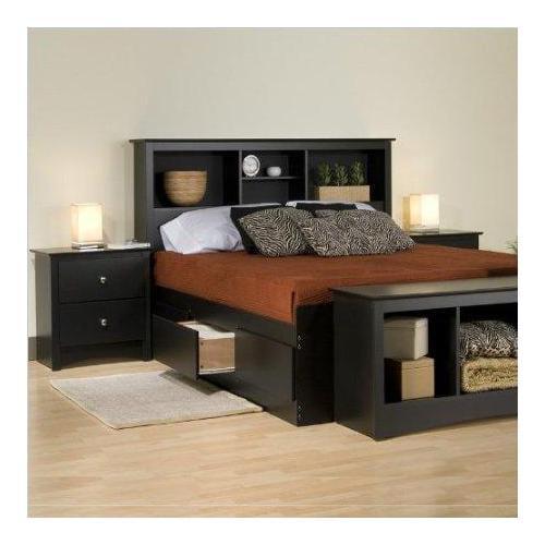 Sonoma Platform Storage Bedroom Set-Finish:Black,Set:7 Piece,Size:King