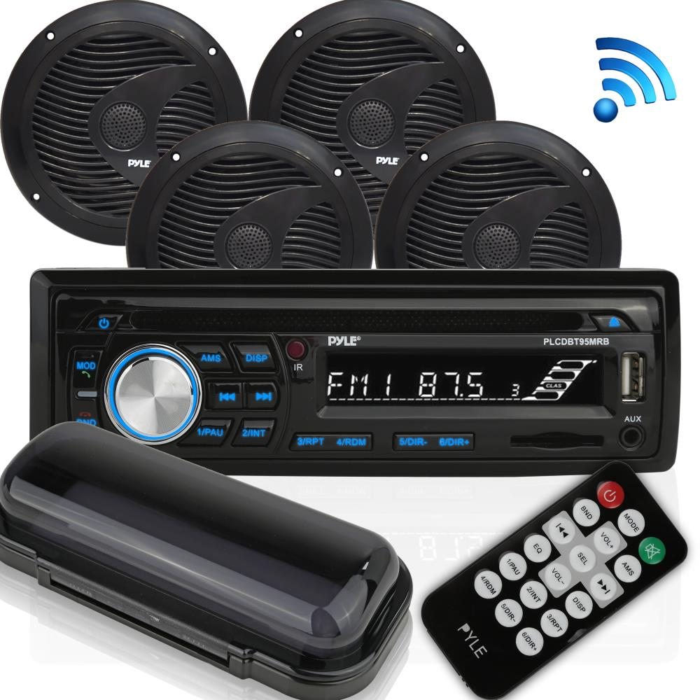"PYLE PLCDBT95MRB - Wireless Bluetooth Marine Audio Stereo - Kit w/Single DIN Universal Size Radio Receiver, Hands-Free Calling, 6.5"" Waterproof Speakers, CD Player, MP3/USB/SD Readers & AM/FM Radio"