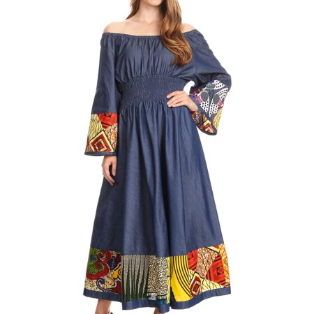 Sakkas Abayomi Wax African Ankara Chambray Peasant Medieval Casual Long Dress - Chambray multi/tribal - One Size - Medieval Peasant Dresses