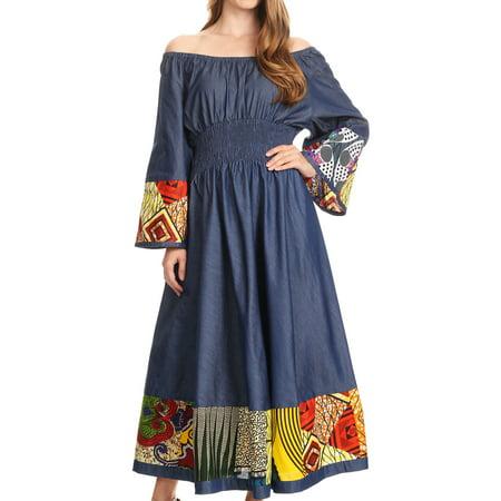 Sakkas Abayomi Wax African Ankara Chambray Peasant Medieval Casual Long Dress - Chambray multi/tribal - One Size Regular (Mideval Dresses)