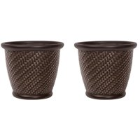 Suncast 18 x 16.5 Inch Wicker Resin Dirt Pot Garden Planter, Dark Brown (2 Pack)
