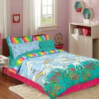 Kidz Mix Unicorn Rainbow Bed-in-a-Bag Kids Bedding Set with Reversible Comforter