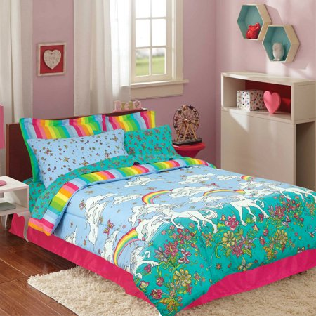 Kidz Mix Unicorn Rainbow Bed in a Bag Kids Bedding Set with Reversible Comforter ()