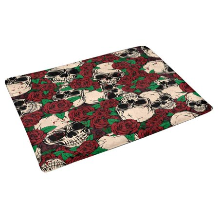 POP Abstract Grunge Color Skulls and Roses Indoor Entrance Rug Floor Mats Shoe Scraper Doormat 30x18 Inches - image 2 of 3