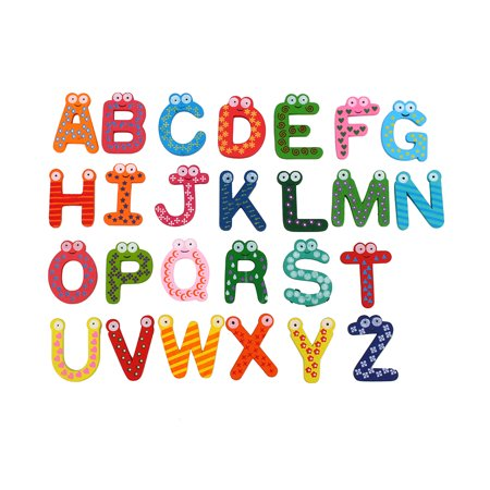 WALFRONT 26pcs/set Letters A-Z Kids Wooden Alphabet Fridge Magnet Child Educational Toy,26pcs/set Letters A-Z Kids Wooden Alphabet Fridge Magnet Child Educational