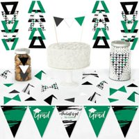 Green Grad - Best is Yet to Come - Diy Pennant Banner Decorations - Green Graduation Party Triangle Kit - 99 Pieces