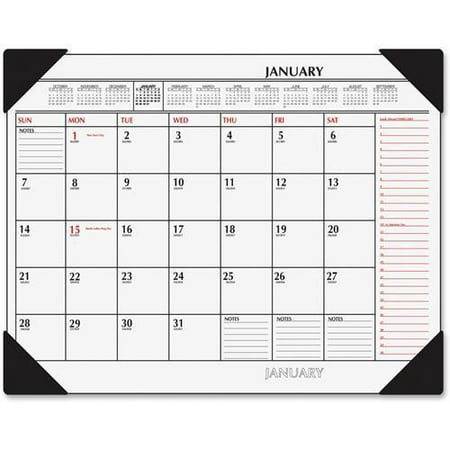 """SK1170-00 At-A-Glance 2-Color Desk Pad Calendar - Monthly - 22"""" x 17"""" - 1 Year - January till December - 1 Month Single Page Layout - Vinyl - Black"""