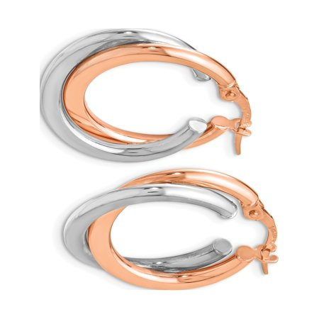 Leslies 14k Two-tone Polished Hinged Double Hoop Earrings (23x17) - image 2 of 3