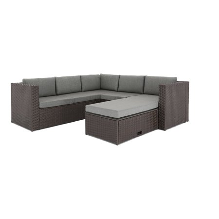 Baner Garden All Weather Wicker 4 Piece Corner Sofa Conversation Set All Weather Wicker 4 Piece
