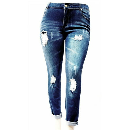 Jack David Women's Plus Size Ripped Destroy Blue Denim Roll up Distressed Jeans Pants