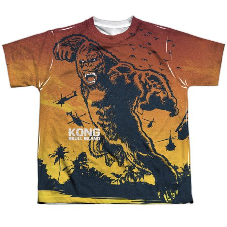Skull Jungle (Kong Skull Island In The Jungle (Front/Back Print) Big Boys Youth Sublimated Polyester Shirt )