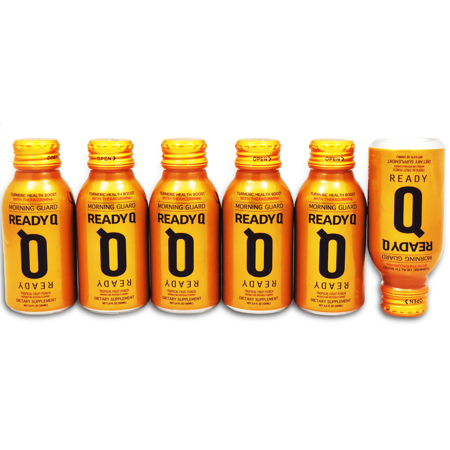 ReadyQ – Morning Guard Drink | All Natural, Theracurmin® | 6-Pack Set of 100ml Bottles | Mango and Peach Flavor
