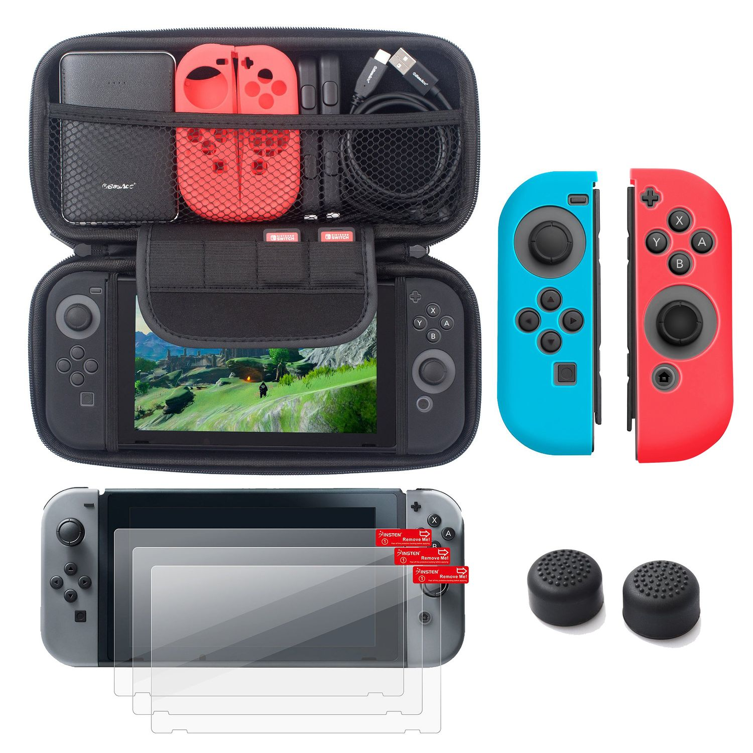 Nintendo Switch 5 items Starter Kit, by Insten Carrying Case Hard Shell Cover + 3-pack LCD Guard + Joy-Con Controller Skin [Left BLUE/Right RED] + Joy-Con Thumb Grip Stick Caps for Nintendo Switch