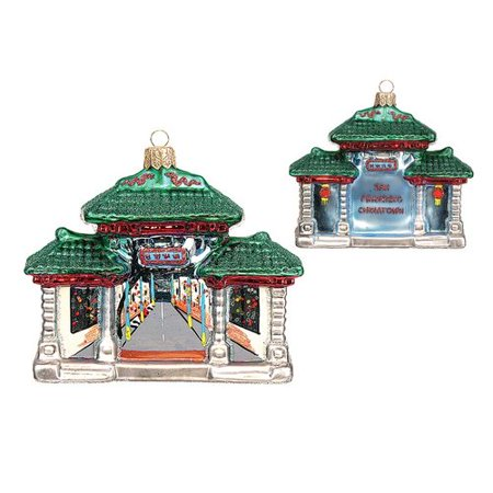 Pinnacle Peak Trading Co Pinnacle Peak Glass San Francisco Chinatown Gate Christmas Ornament