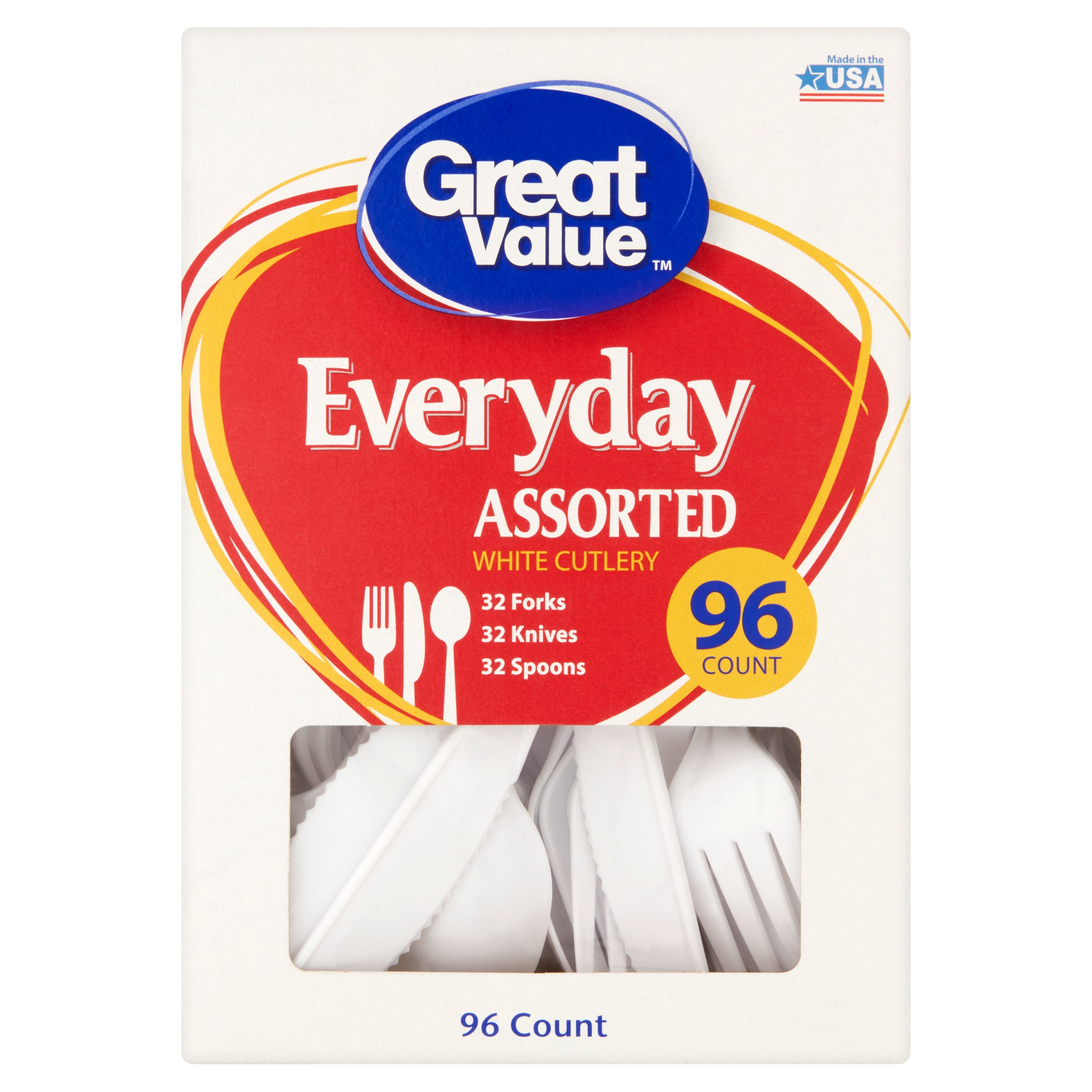 Great Value Everyday Assorted White Cutlery, 96 Count
