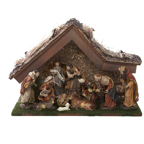 """Kurt Adler 12"""" Nativity Set with Stable and 10 Figures"""