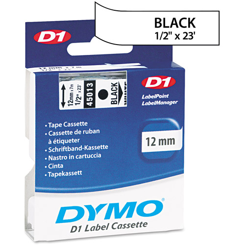 "Dymo D1 High-Performance Removable Label Tape, 1/2"" x 23 ft, Black on White"