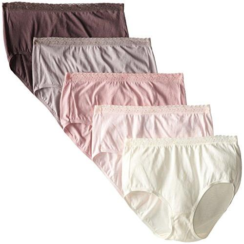 Hanes Womens 5-Pack Cotton with Lace Brief Panty 7 Assorted