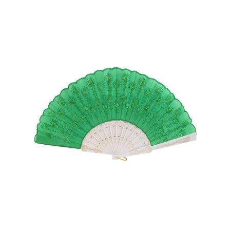 Plastic Handgrip Sequins Decor Summer Folding Hand Fan White - Sequin Hand Fans