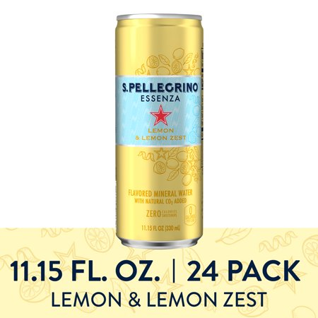 S.Pellegrino Essenza Lemon & Lemon Zest Flavored Mineral Water, 11.15 fl oz. Cans (24