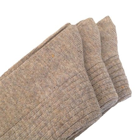 Lian LifeStyle Men's 3 Pairs Pack Cashmere Wool Crew Socks Solid Beige Size