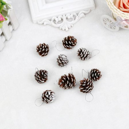 Pine Cone Christmas Tree Ornaments (9pcs Christmas Pine Cones Bauble Xmas Tree Party Hanging Decoration)