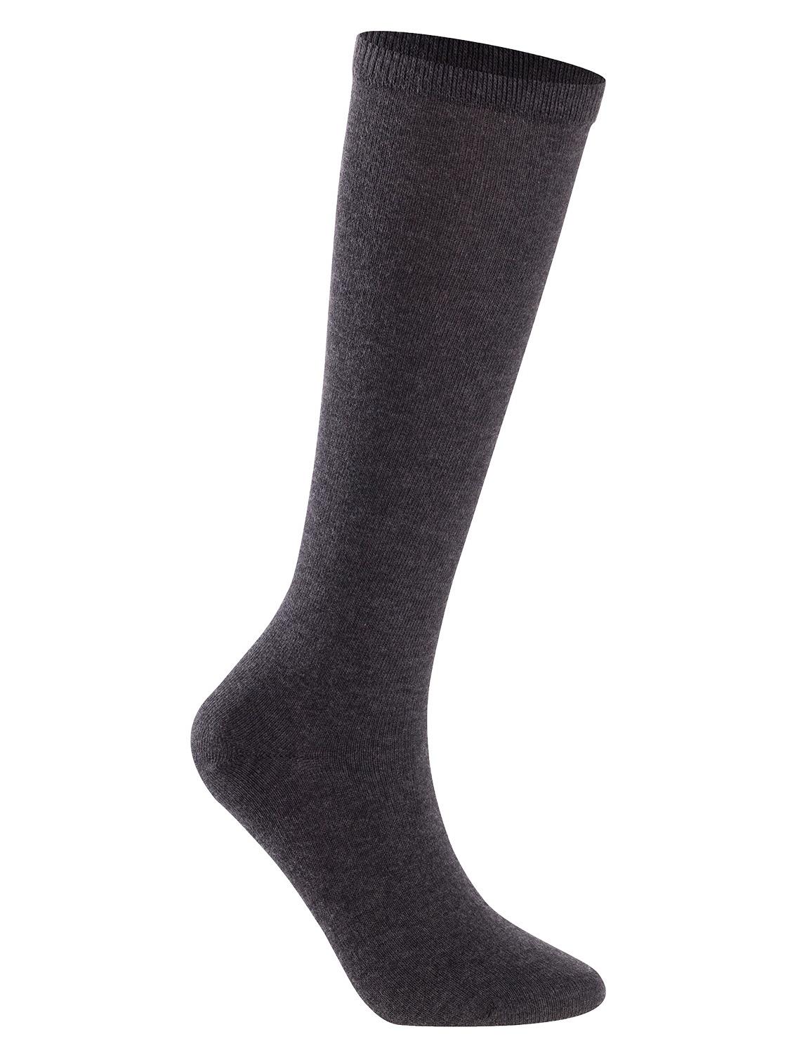 Lian LifeStyle Unisex Children 4 Pairs High Crew Combed Cotton Socks Medium (9Y-12Y) Dark Grey