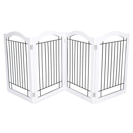Internet's Best Wire Dog Gate with Arched Top | 4 Panel | 30 Inch Tall Pet Puppy Safety Fence | Fully Assembled | Durable MDF | Folding Z Shape Indoor Doorway Hall Stairs Free Standing | White