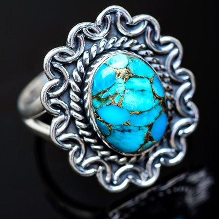 Blue Copper Composite Turquoise Ring Size 9.5 (925 Sterling Silver)  - Handmade Boho Vintage Jewelry RING941195 (Ana Silver Tanzanite Rings)