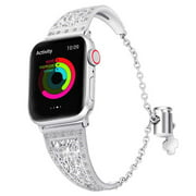 Peroptimist ( Women) Multiple Colors iWatch Band IWatch Series 4/3/2/138mm 42mm,Unique Metal Bracelet Movable Buckle Wristbands Stainless Steel Straps Replacement SILVER 38MM