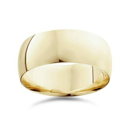 Mens High Polished Comfort Fit Dome 9MM Wedding Band Ring 10K Yellow Gold