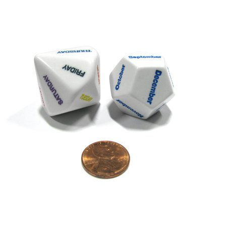 Koplow Games Day and Month Setting Dice - 1 Days of the Week and 1 Months of the Year Dice