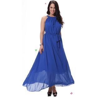 Unomatch Women Sleeveless A-line Chiffon Plus Size Dress Blue
