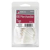 MACO White Strung Merchandise Tags, #2 - 1-3/32 x 3/4 Inches, 100 Per Pack (BB-207)