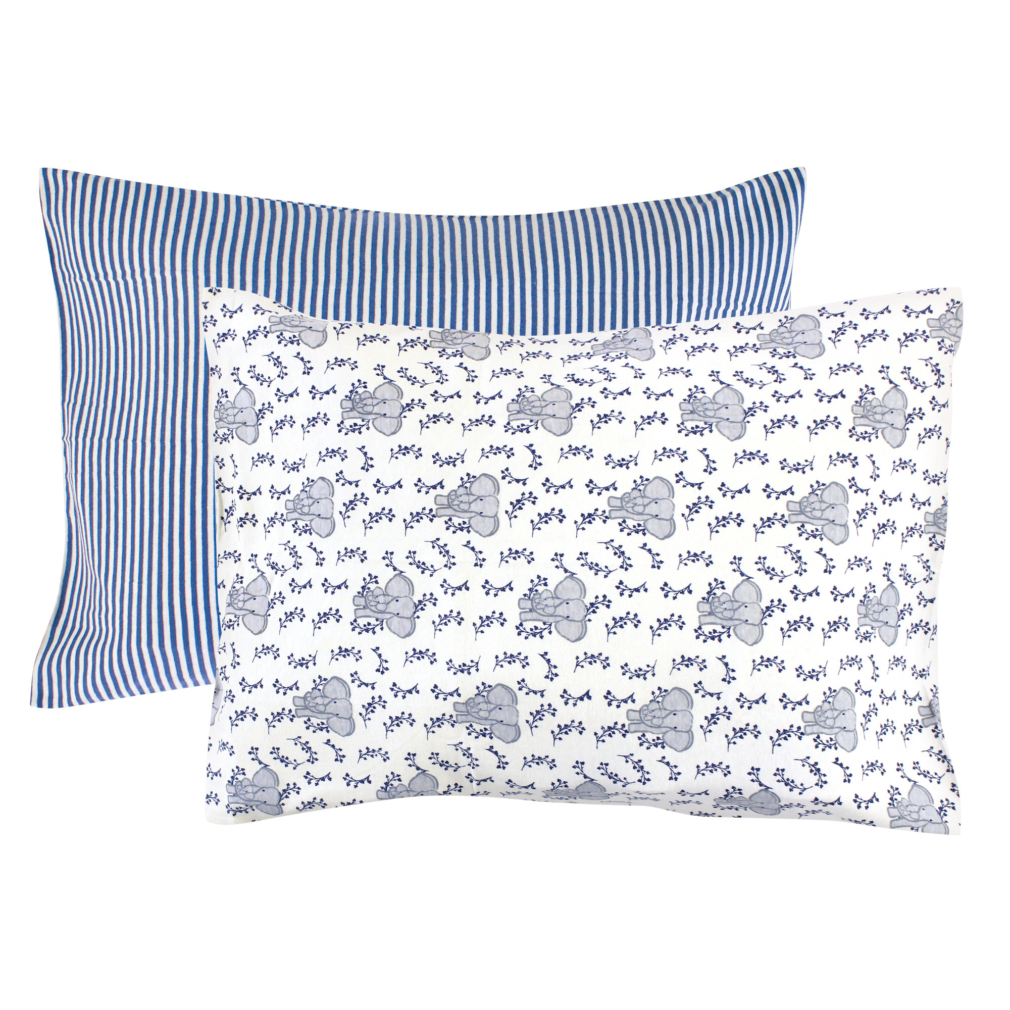 Blue Soft and Breathable Travel Pillow Cases with Envelope Closure for Boys and Girls H HOUSEHOLD Organic Cotton Jersey Knit Toddler Pillowcases 13 x 18 2 Pack