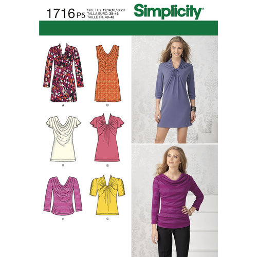 Simplicity Misses' Top and Mini Dress (14, 16, 18, 20, 22)