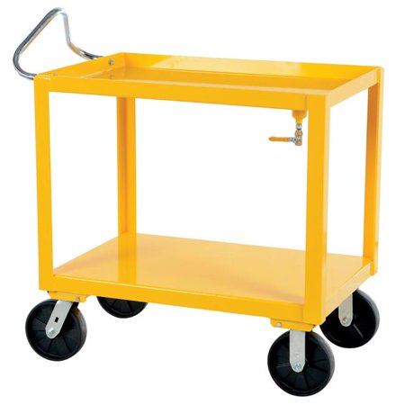 Vestil Manufacturing DH-PH4-2436-D 24 x 36 in. Ergo Handle Cart with Drain - Yellow ()