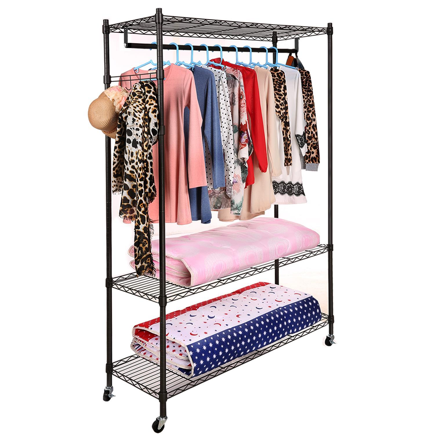 3-Tier Wire Closet Organizer Rack Shelving Clothes Shelf  with Side Hook And Wheels WLT